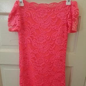 H&M Neon Off the Shoulder Lace Bodycon Dress